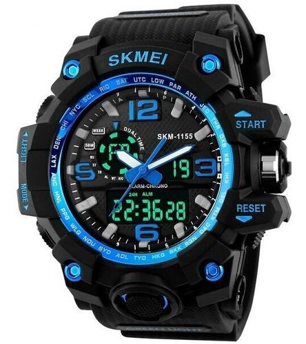 relógio skmei original modelo 1155 azul prova d'água