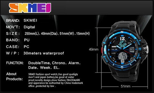 relógio skmei s-shock analógico digital prova d'água 1148