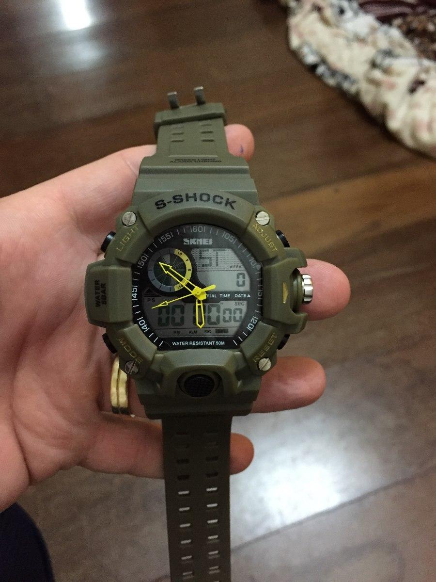 be4d06c16c9 relógio skmei s-shock verde militar. Carregando zoom.