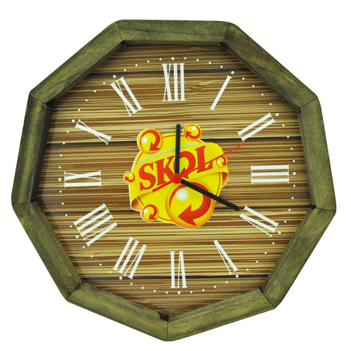 relógio skol madeira pinus area de lazer