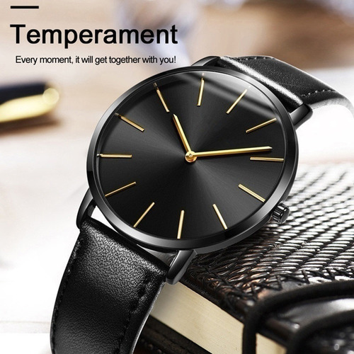 relogio slim ultra fino top linha new brand  luxo   pulseira de couro design especial box de brinde