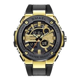 Relógio Smael 1625 Dourado Original Prova D'água Promoção