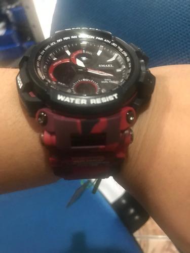 relógio smael 1708 red camuflage militar prova dágua