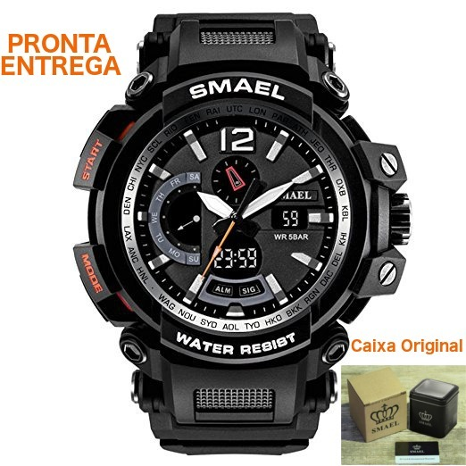 15a8b288a5e Relógio Smael® Militar Sport Shock Resist Dual Time + Caixa - R  120 ...