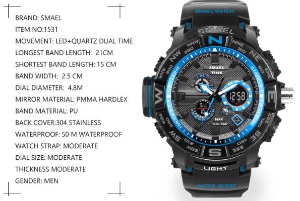 f2a639aa4d8 Relógio Smael Time S-shock 1531 Esportivo A Prova D água - R  130