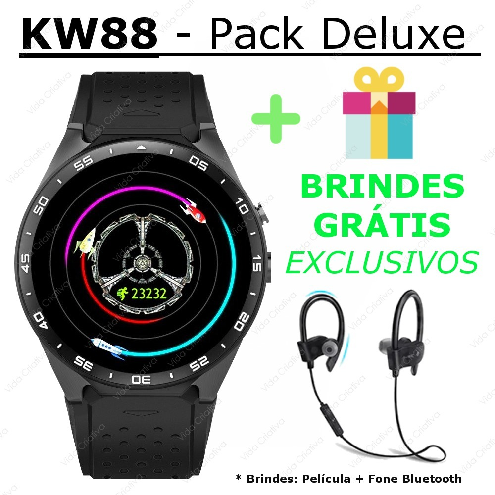 4988572567e Relógio Smart Watch Kingwear Kw88 Sport Fitness Bluetooth - R  698 ...