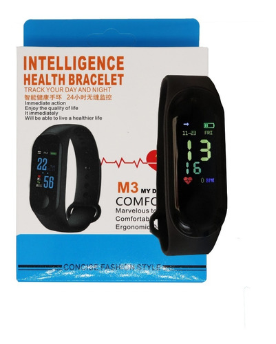 relogio smartband preto pulso m3 monitor monitor cardiaco