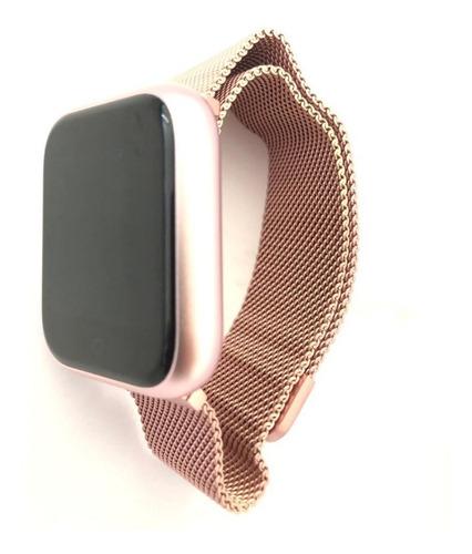 relógio smarthwatch feminino android ios pulseira aço rose