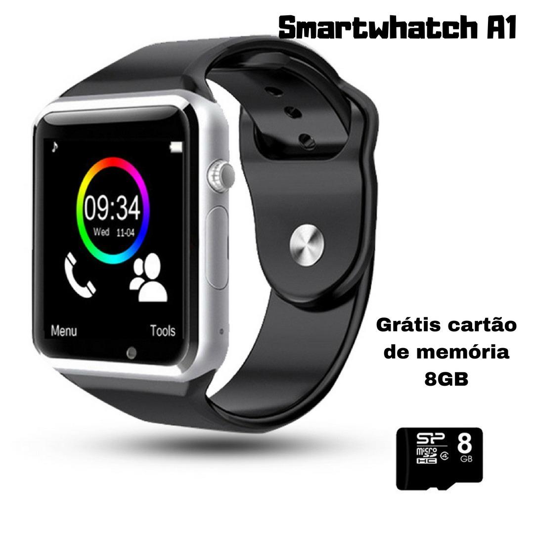 9a7a7218bdf Relógio Smartwatch A1 Entrada Chip Cartão De Memória Brinde - R  120 ...