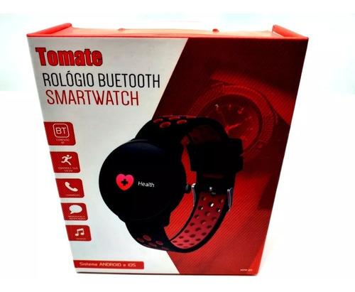 relógio smartwatch sport buetooth band mtr-09 tomate