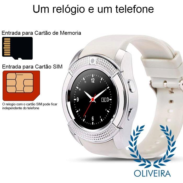773528c36af Relógio Smartwatch V8 Gsm Camera Card Slot Bluetooth - R  130