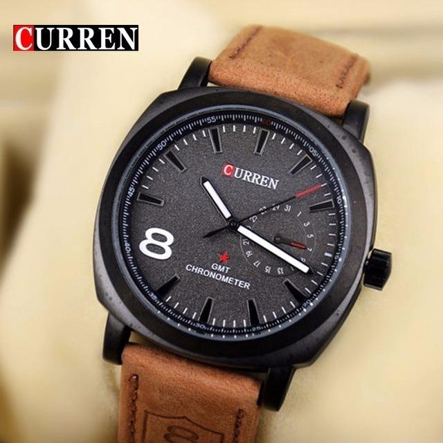 96d1f36699c Relógio Social Curren Importado Pulseira De Couro Luxuoso - R  50