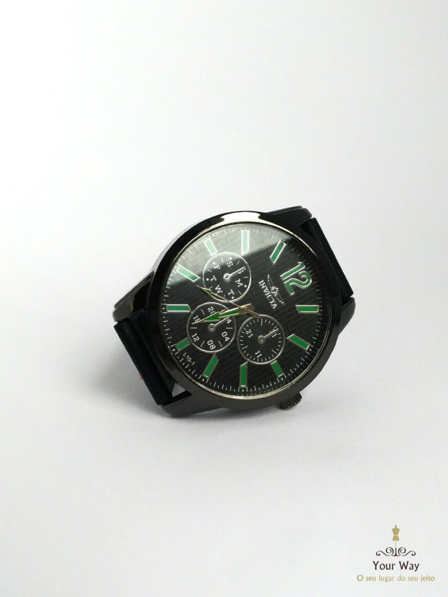 11353419f68 relógio social esportivo invicta masculino preto e verde. Carregando zoom.