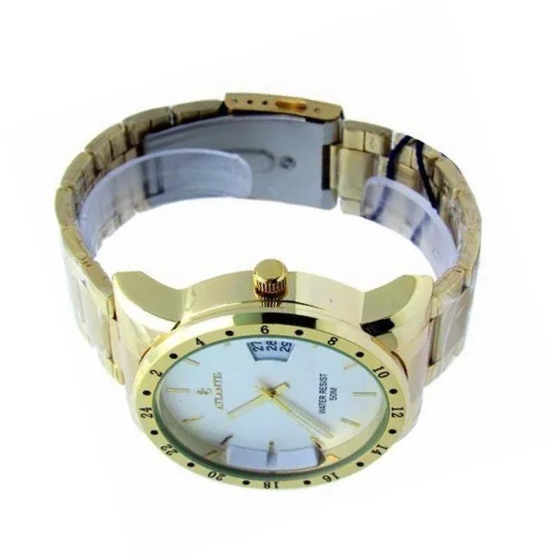 f85e86acfdc relógio social masculino barato dourado atlantis original aç. Carregando  zoom.