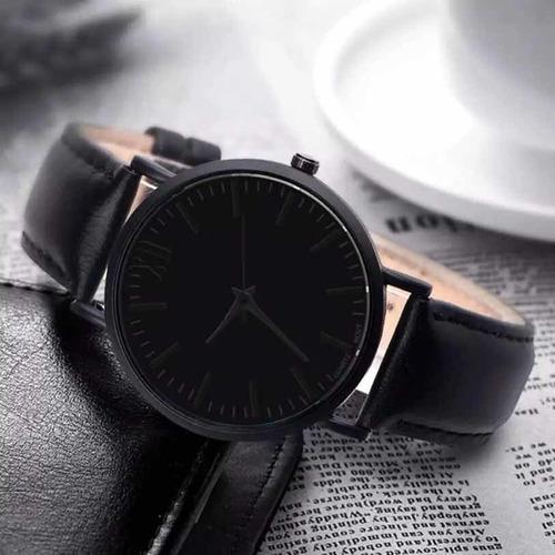 relógio social masculino quartz pulseira couro luxo preto