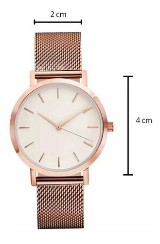 relógio social masculino rosê pulseira de metal analógico