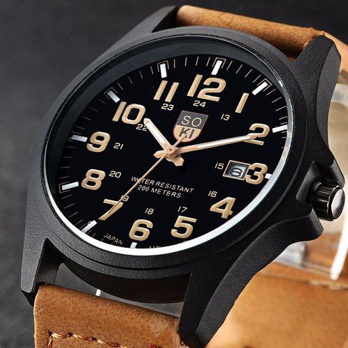 relógio soki militar masculino pulseira de couro social luxo