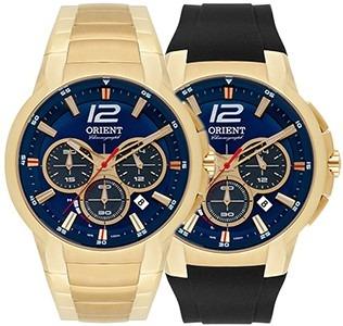 01909ae1480 Relógio Solar Orient Masc. Kit 2 Puls Mgssc017 Dourado Azul - R ...