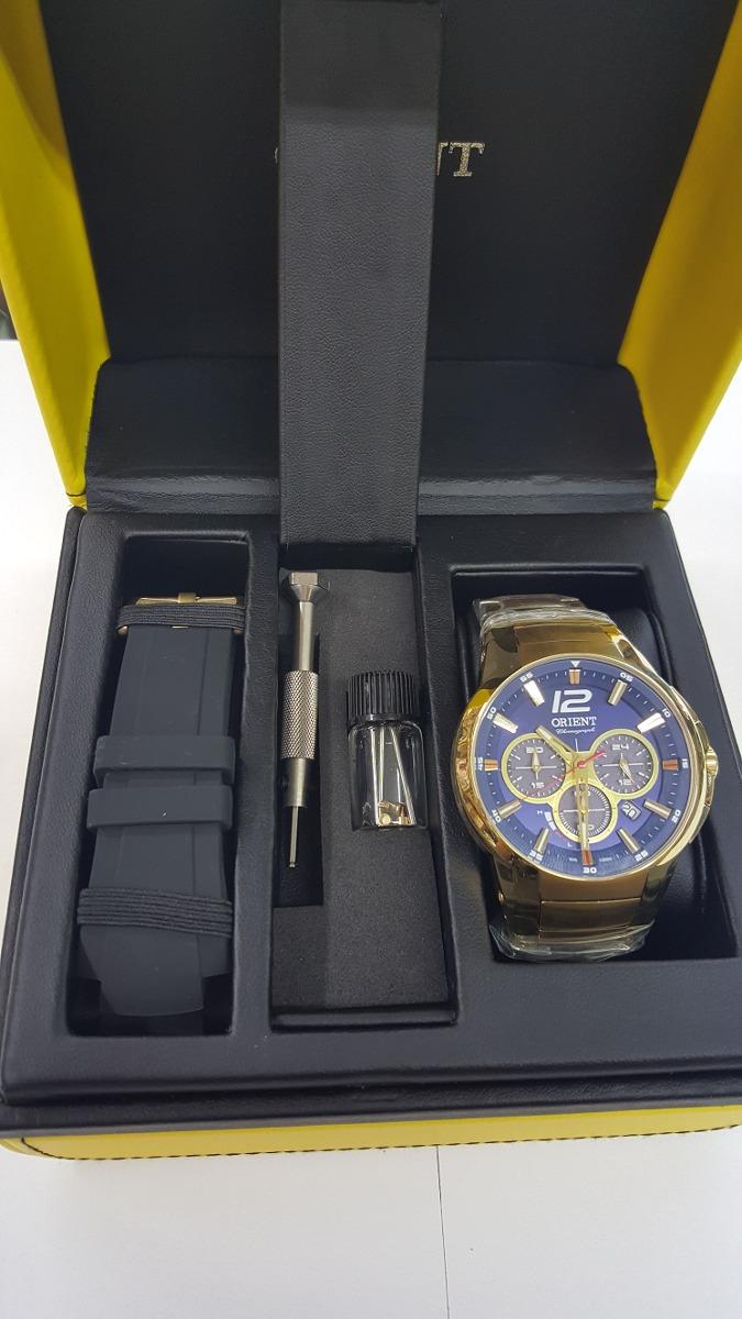 37d4c1f1f38 Relógio Solar Orient Masc. Kit 2 Puls Mgssc017 Dourado Azul - R  979 ...