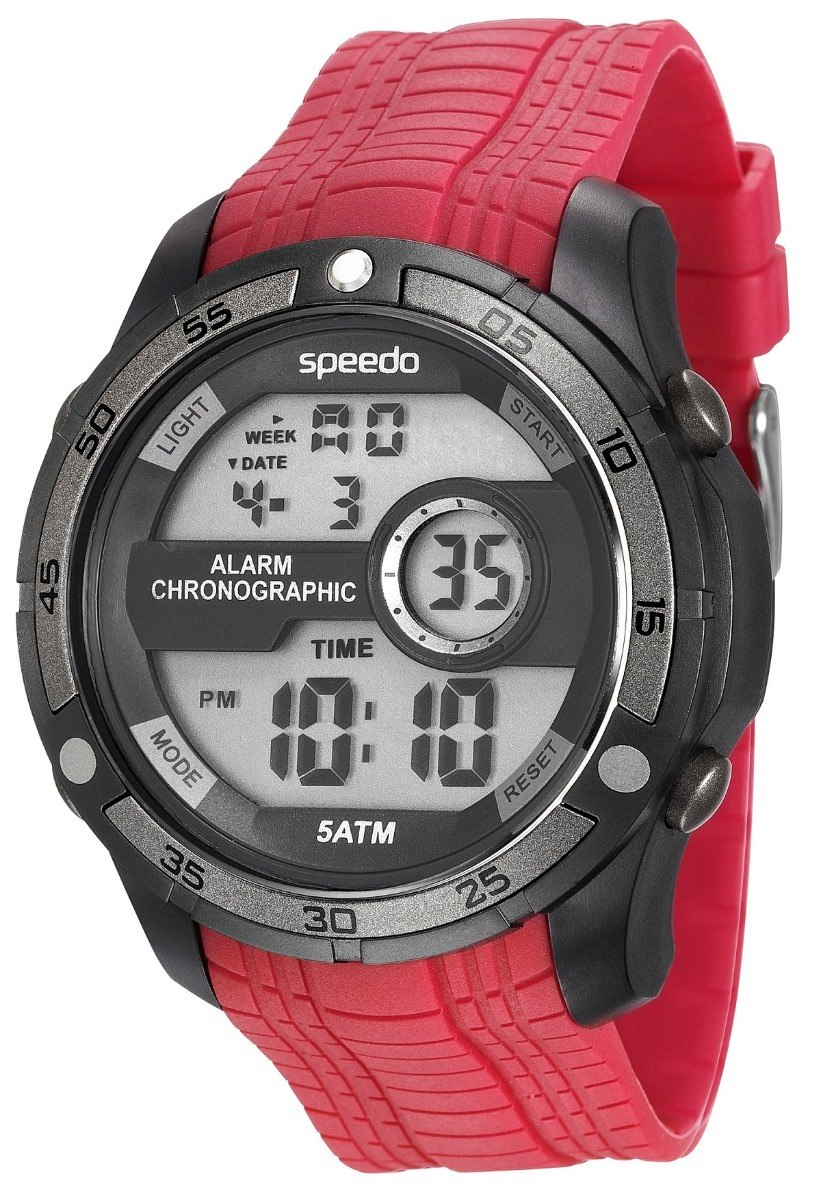cf9b8649aad relogio sport speedo digital pulseira borracha vermelha. Carregando zoom.