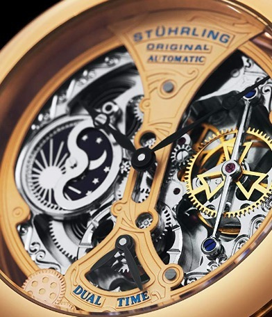 relógio stuhrling emperor automático skeleton rosé masculino