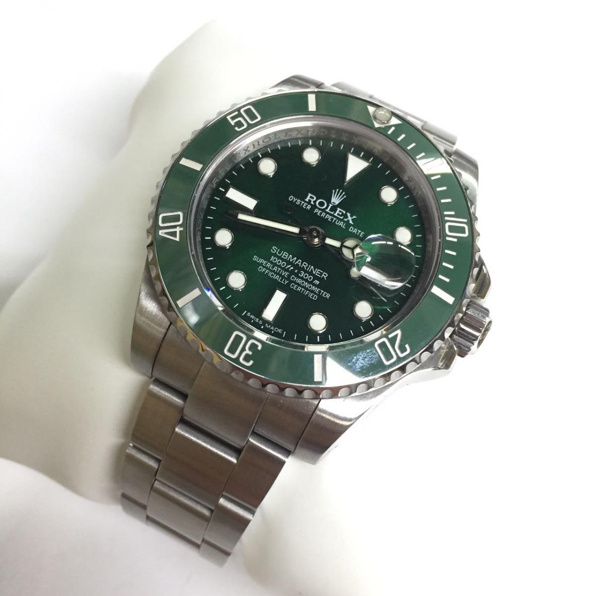 69560ae8be5 relógio submariner eta prata fundo verde aço. Carregando zoom.