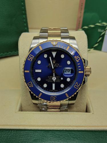 relogio submariner misto azul c.caixa - dourado/aço - promo