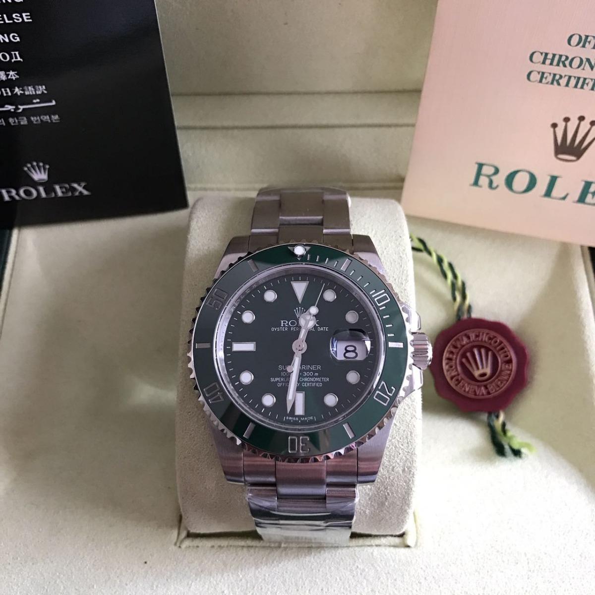 bf814524951 relógio submariner prata fundo verde aço. Carregando zoom.