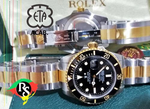 relógio submariner preto misto dourado ceramic + 50 modelos