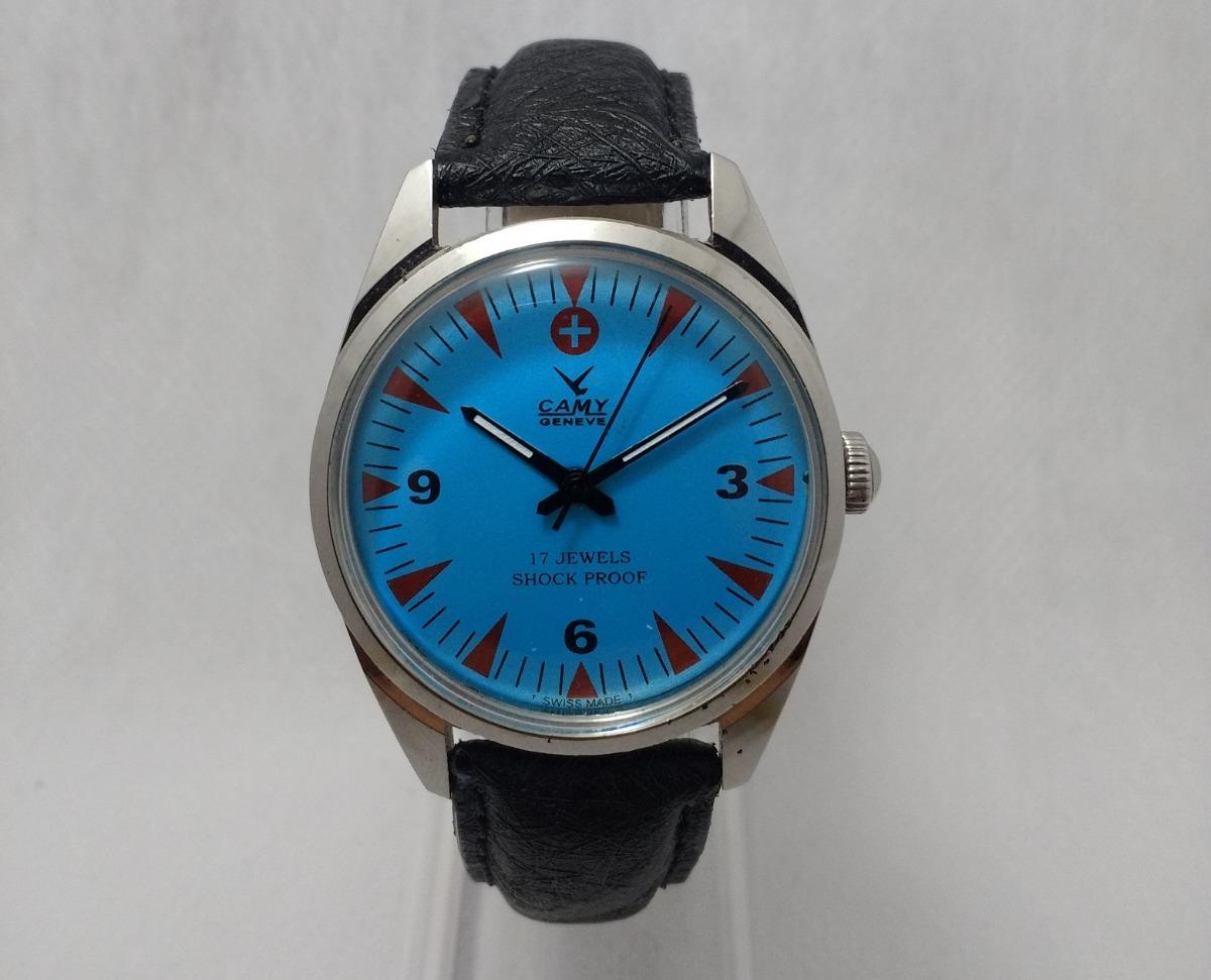 8d16564c416 relógio suíço camy corda manual. azul com detalhes vermelhos. Carregando  zoom.