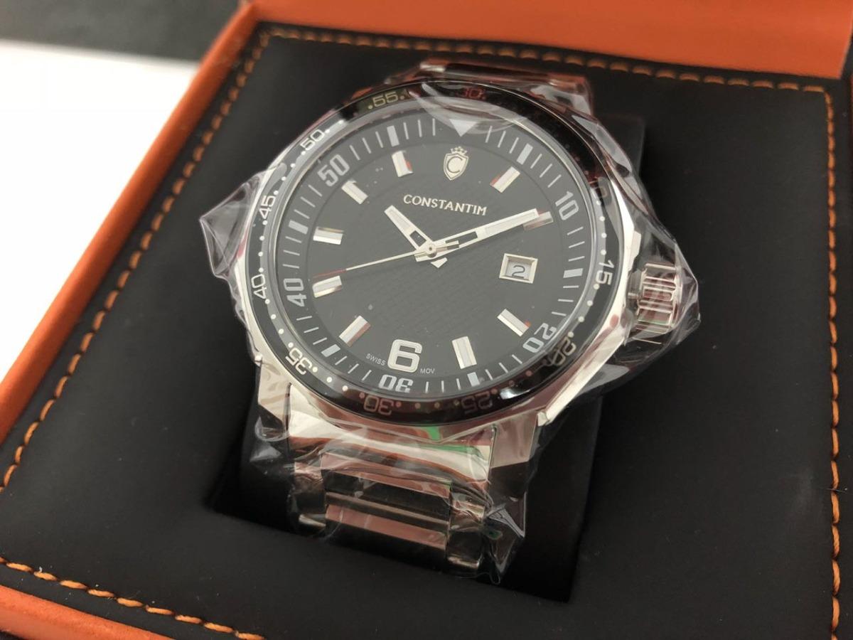 e3391e1888c relógio suíço constantim silver black masculino novo. Carregando zoom.