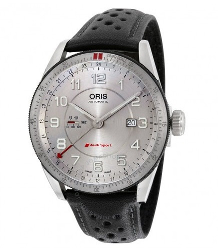 relógio suíço oris audi sport automático prata/couro gmt