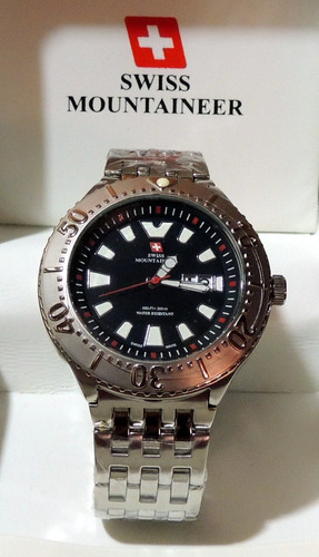 relogio suiço watch swiss mountaineer sm1300 48mm steel aço