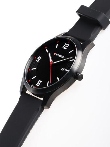 relógio suíço wenger pulseira de silicone city active preto