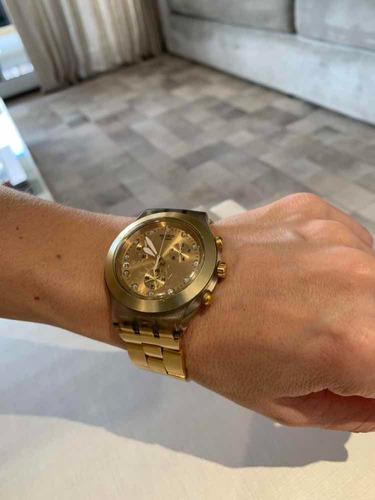 relógio swatch dourado, irony, diaphane