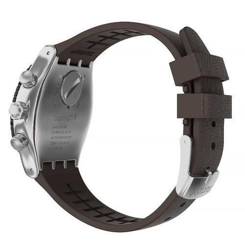 relógio swatch duo brown - yvs450