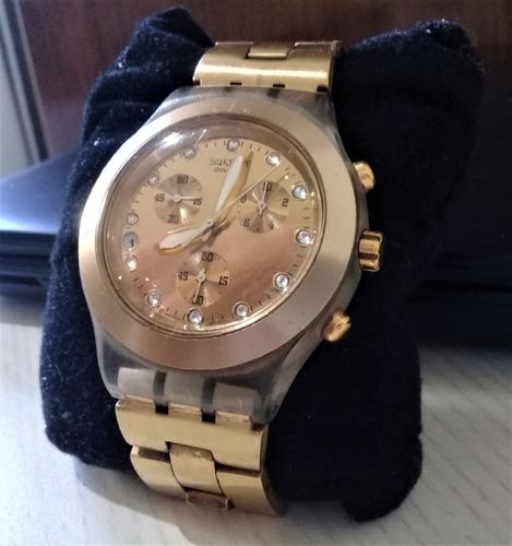 relógio swatch full blooded dourado
