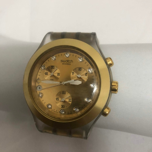 relógio swatch full blooded dourado original.