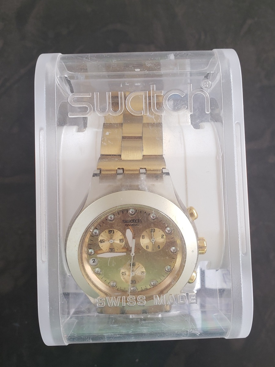 07384e195f5 relógio swatch full blooded dourado original caixa garantia. Carregando zoom .