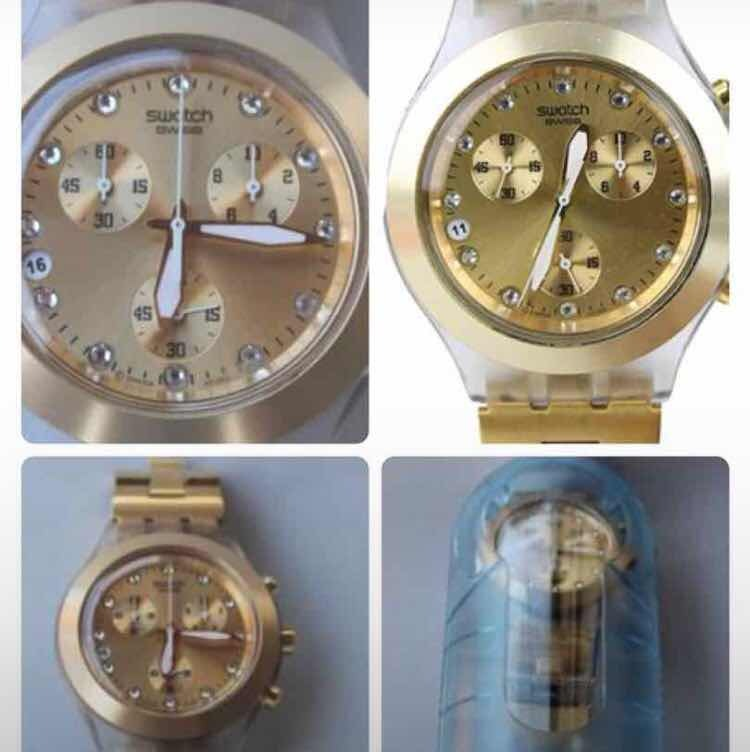 7a052ab2e65 Relogio Swatch Full Blooded Dourado Sbck 4032g - R  800
