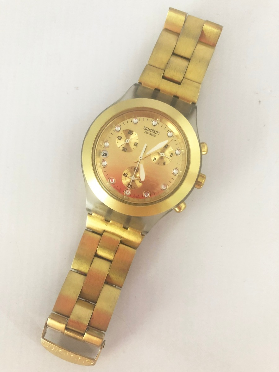 e8ce2e82ffe relógio swatch full blooded dourado svck4032g - original. Carregando zoom.