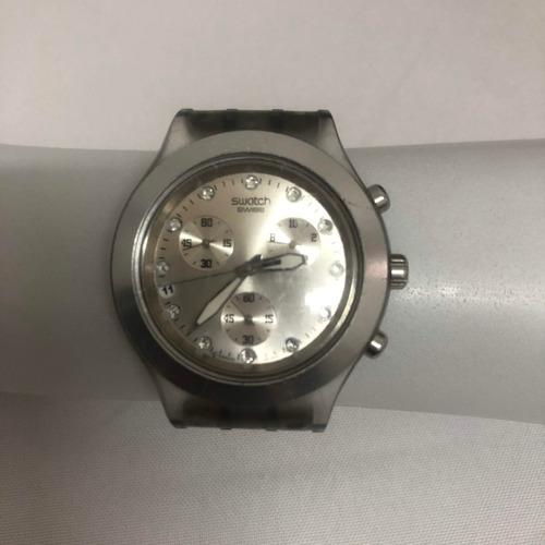 relógio swatch full blooded prata original.