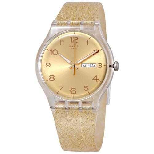relógio swatch  golden sparkle suok704