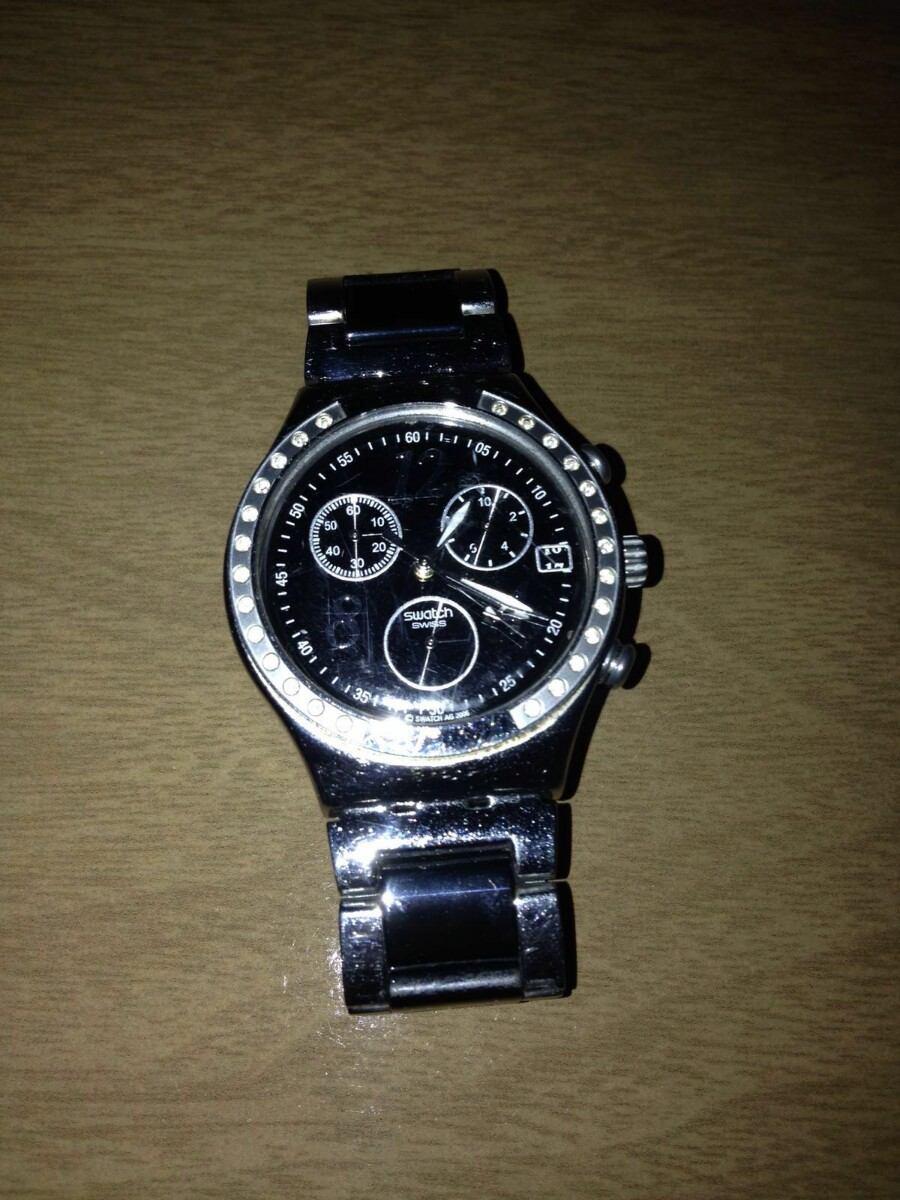 21eb0df386d relógio swatch irony chrono cromado preto e prata. Carregando zoom.