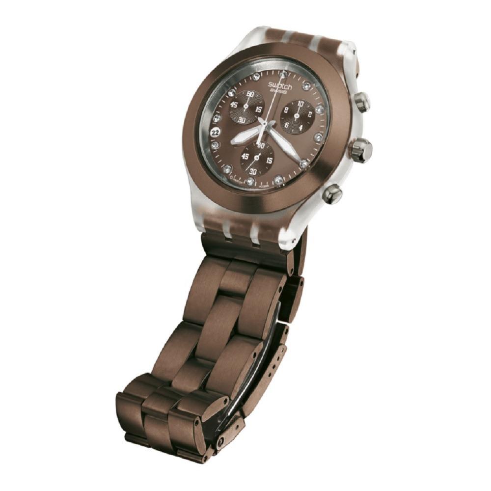 b64994ee523 Relógio Swatch Irony Diaphane Marrom Original - R  578