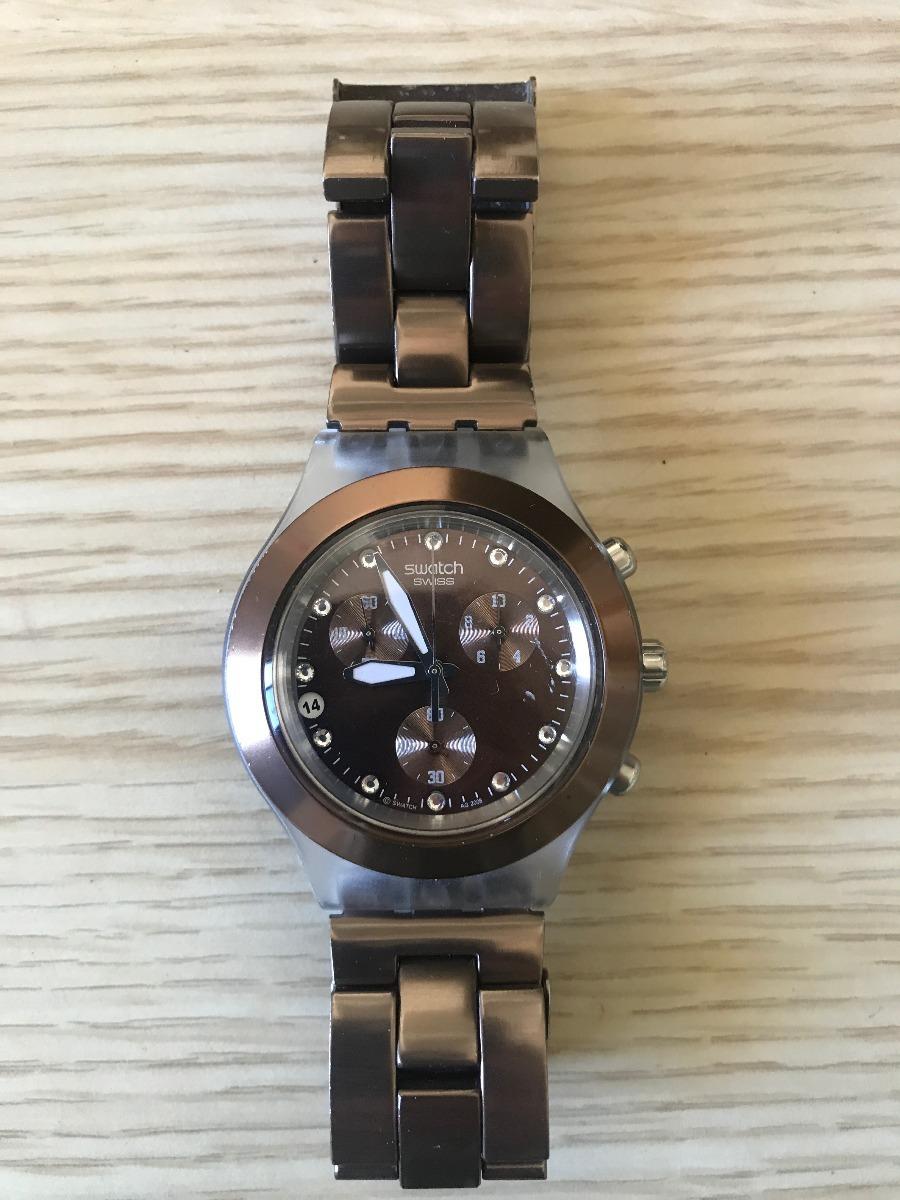 12dbb84ad5a relógio swatch irony diaphane marrom original. Carregando zoom.