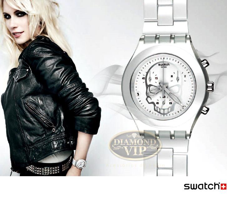 9033aa644b3 Relógio Swatch Original Irony Skull Feminino Branco Caveira - R ...