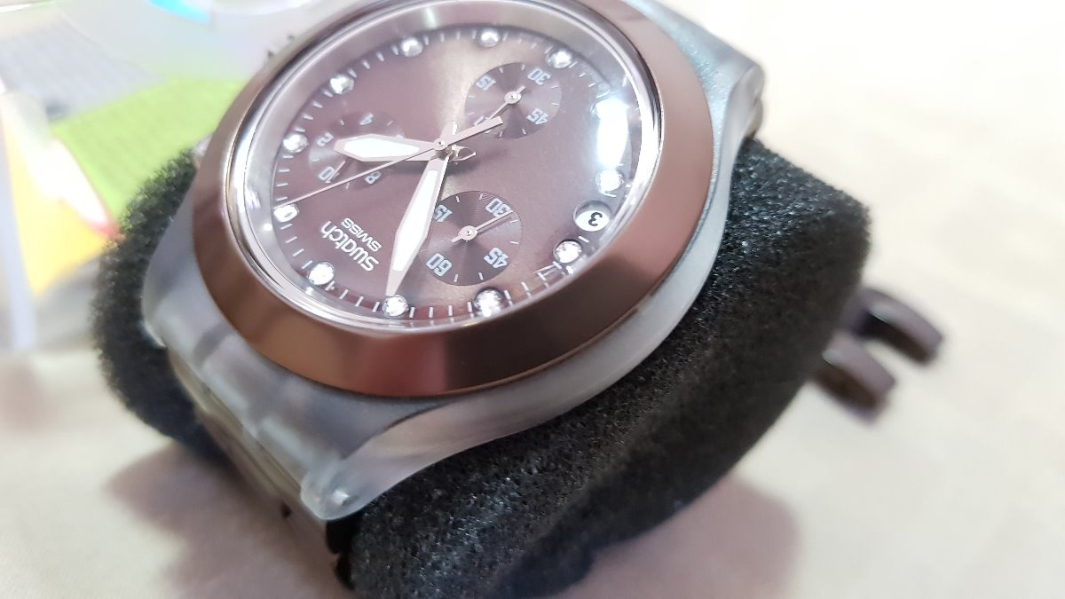 7eef77bf16b relógio swatch suiço original todo em aço irony diaphane. Carregando zoom.