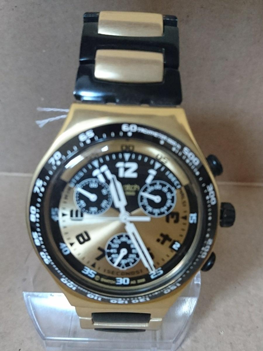 3153735fc98 relógio swatch ycg4000ag dourado e preto. Carregando zoom.