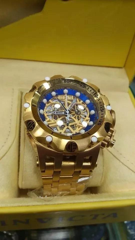 94d30dd7b10 relógio t3 invicta venom hybrid skeleton 53mm dourado e azul. Carregando  zoom.